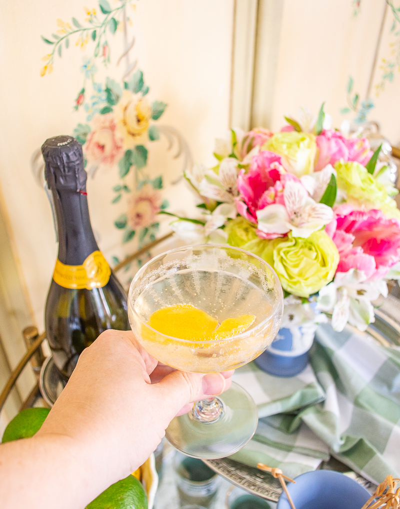 Katherine holding vintage floral champagne coupe for a cheers