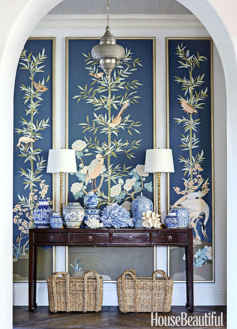 Chinoiserie Panels by Allison Cosmos, Commissioned project for Naples Home Designed by Summer Thornton as featured in House Beautiful