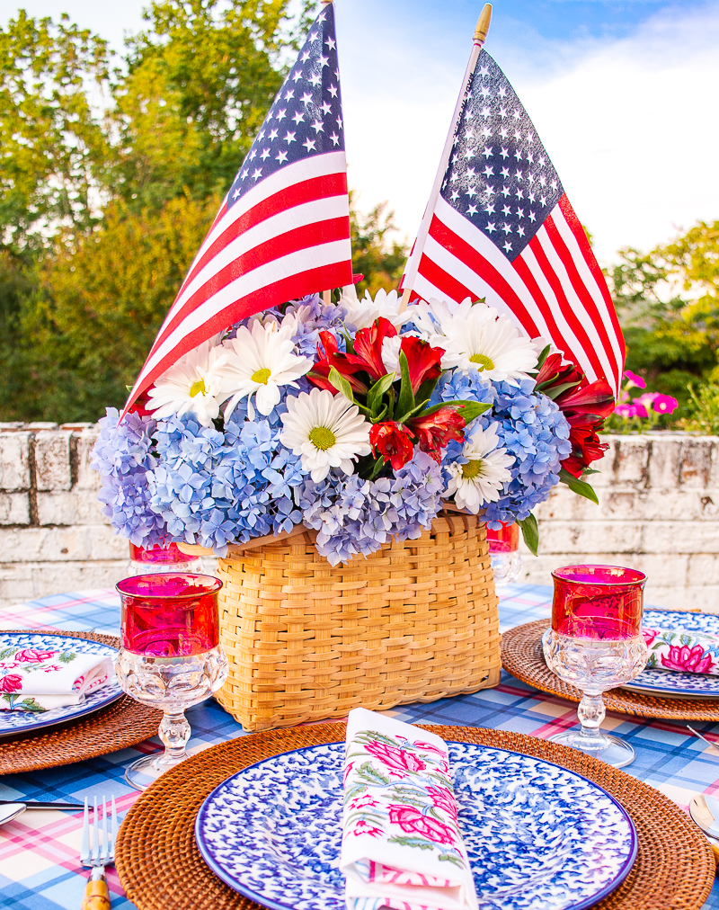 Close up of flowers in 4th of July centerpiece