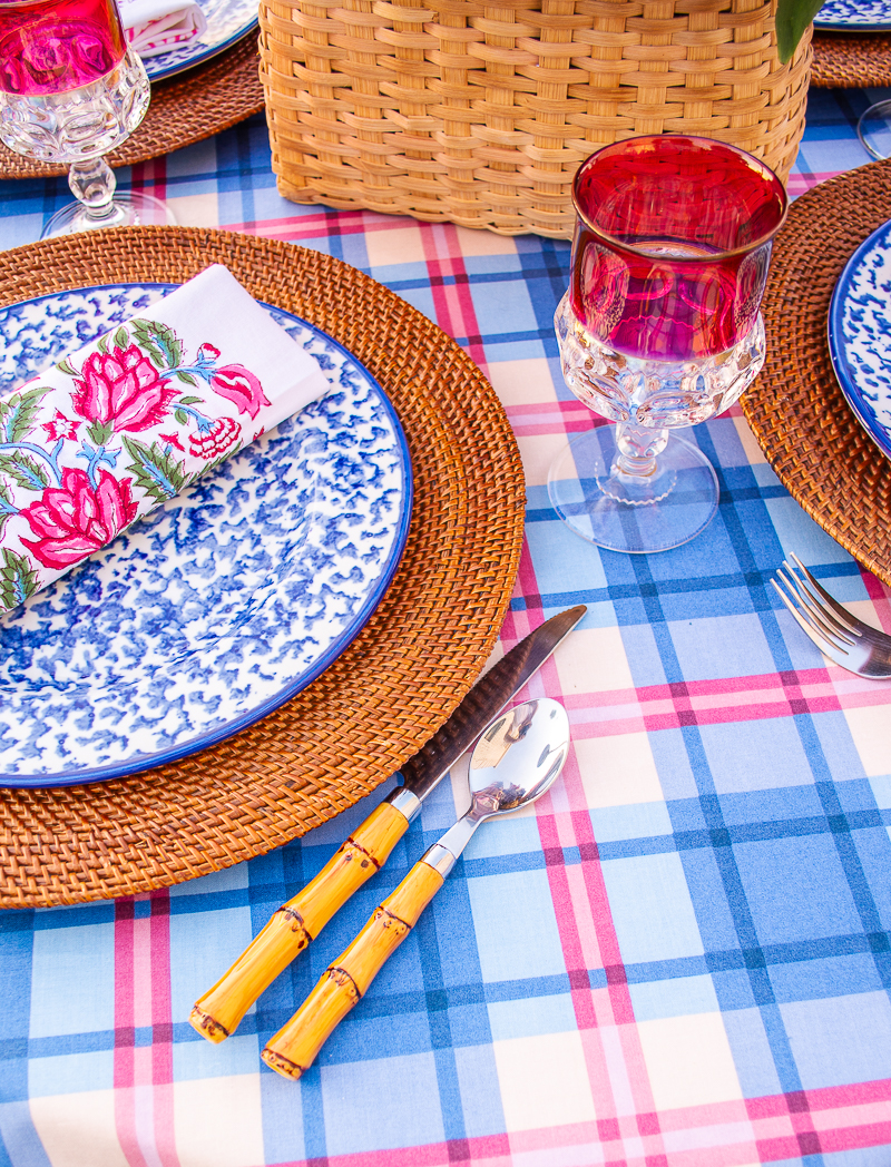 Detail of tableware on 4th of July table