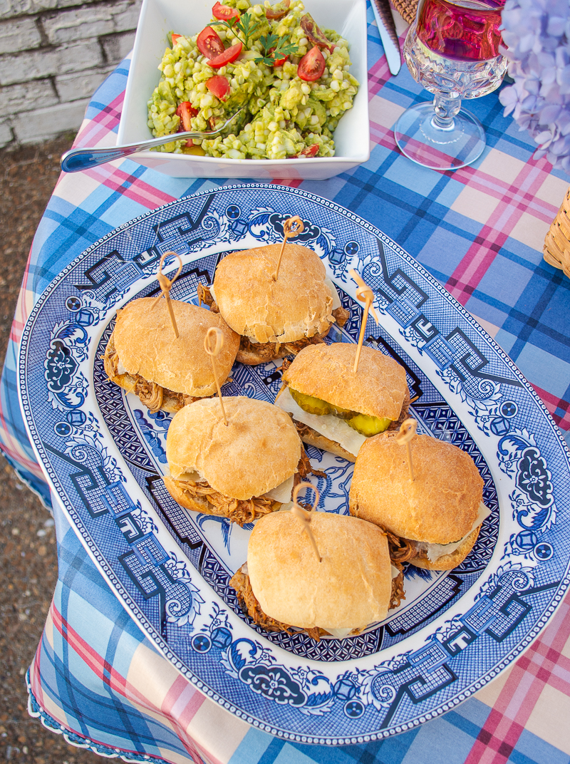 BBQ chicken sliders on large Blue Willow platter