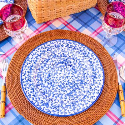 blue and white spongeware dinner plates, royal majestic
