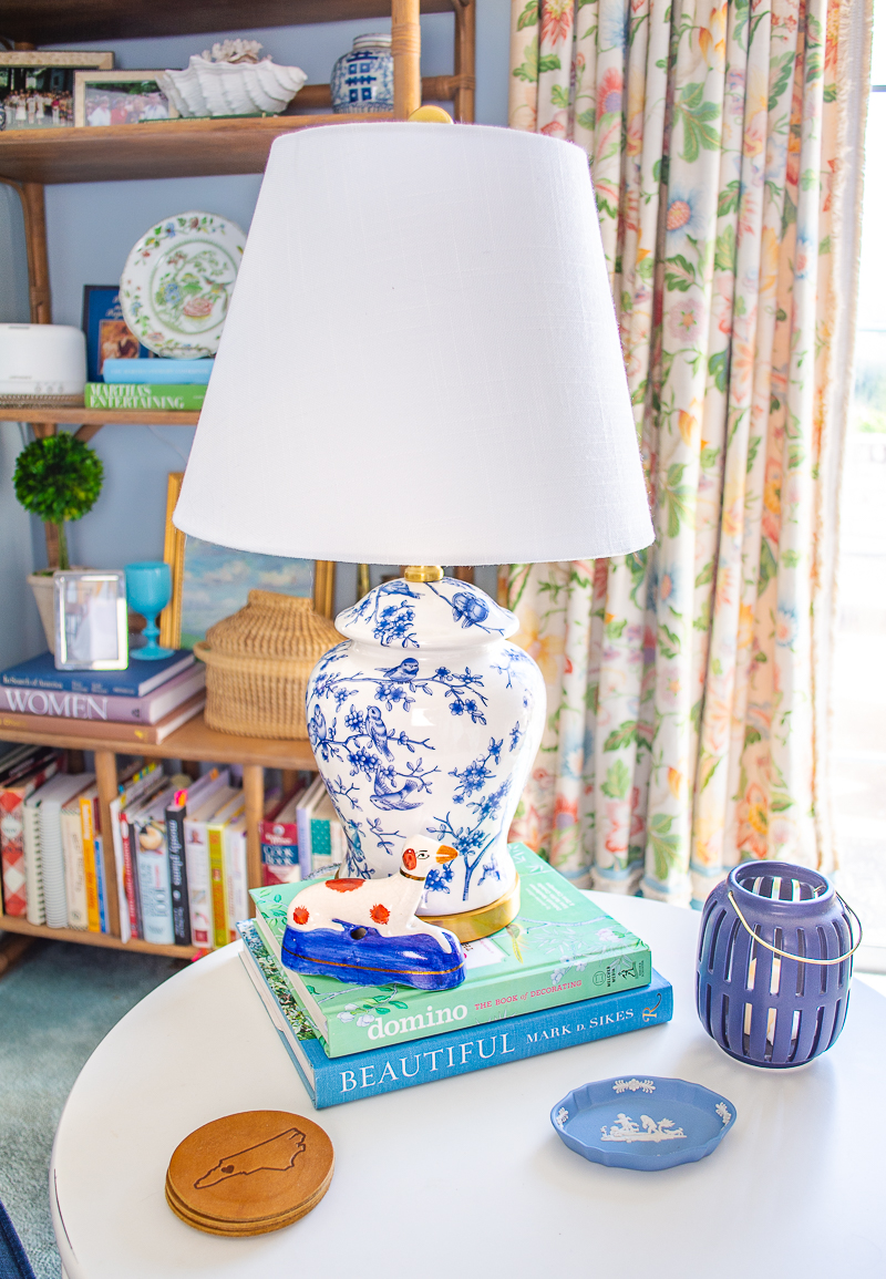 Blue and white Eldredge lamps with Chinoiserie birds and branch motif update the lighting for the family room refresh