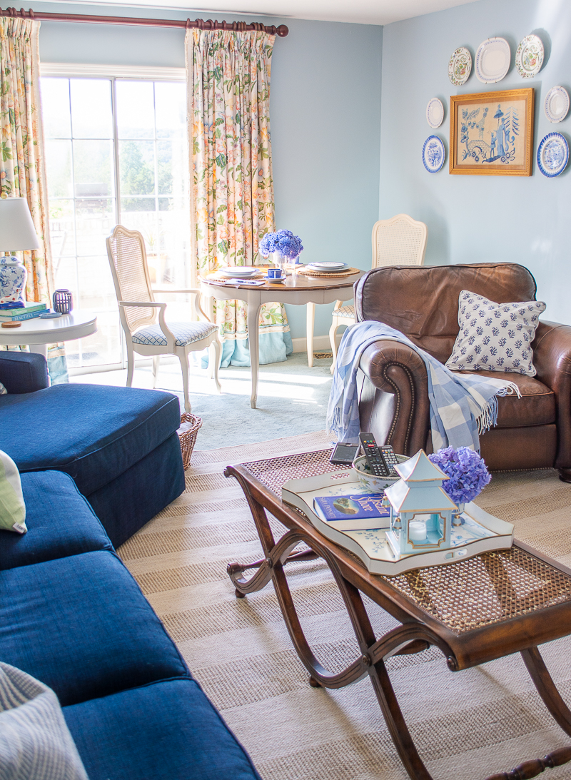 Blue and white family room reveal - after