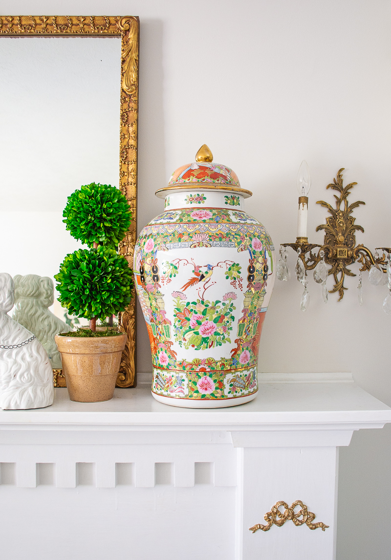 Katherine's mantel is styled with large Rose Medallion temple jars for a traditional Chinoiserie chic look!