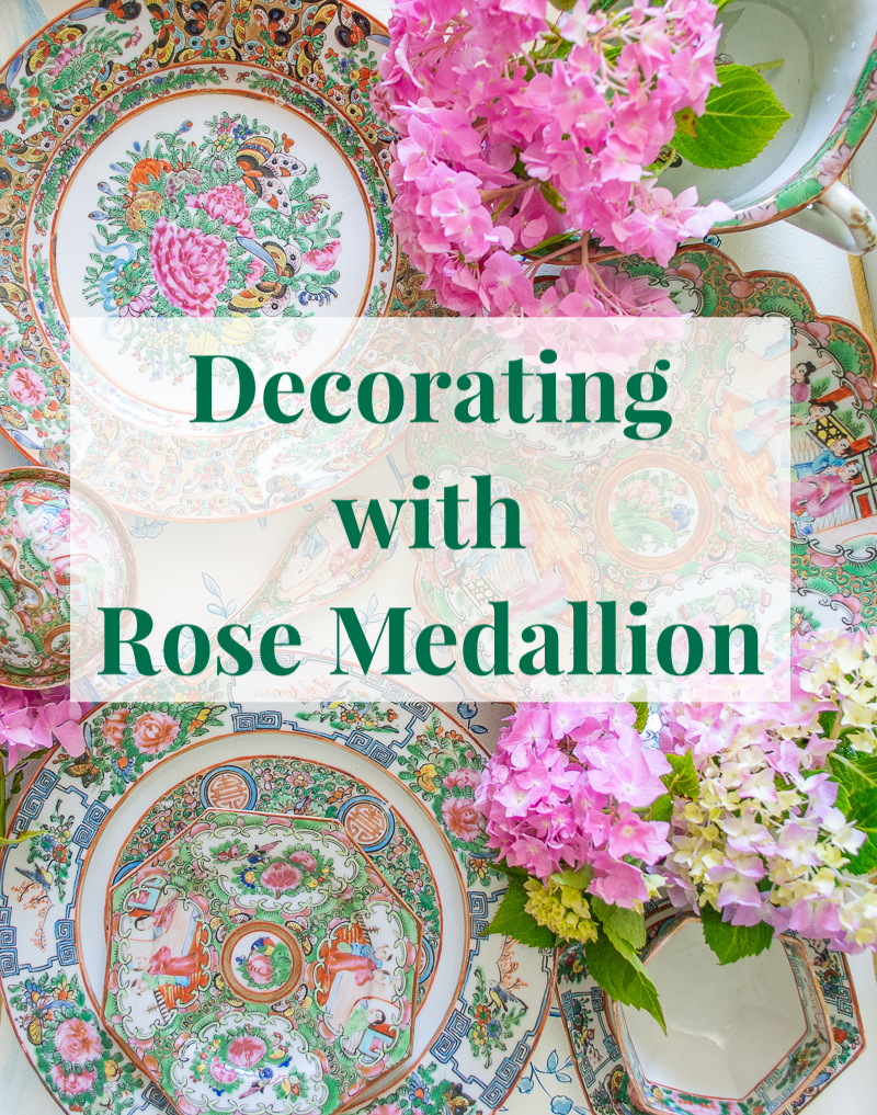 5 ways of decorating with Rose Medallion porcelains - flat lay collage of Famille Rose plates and tableware