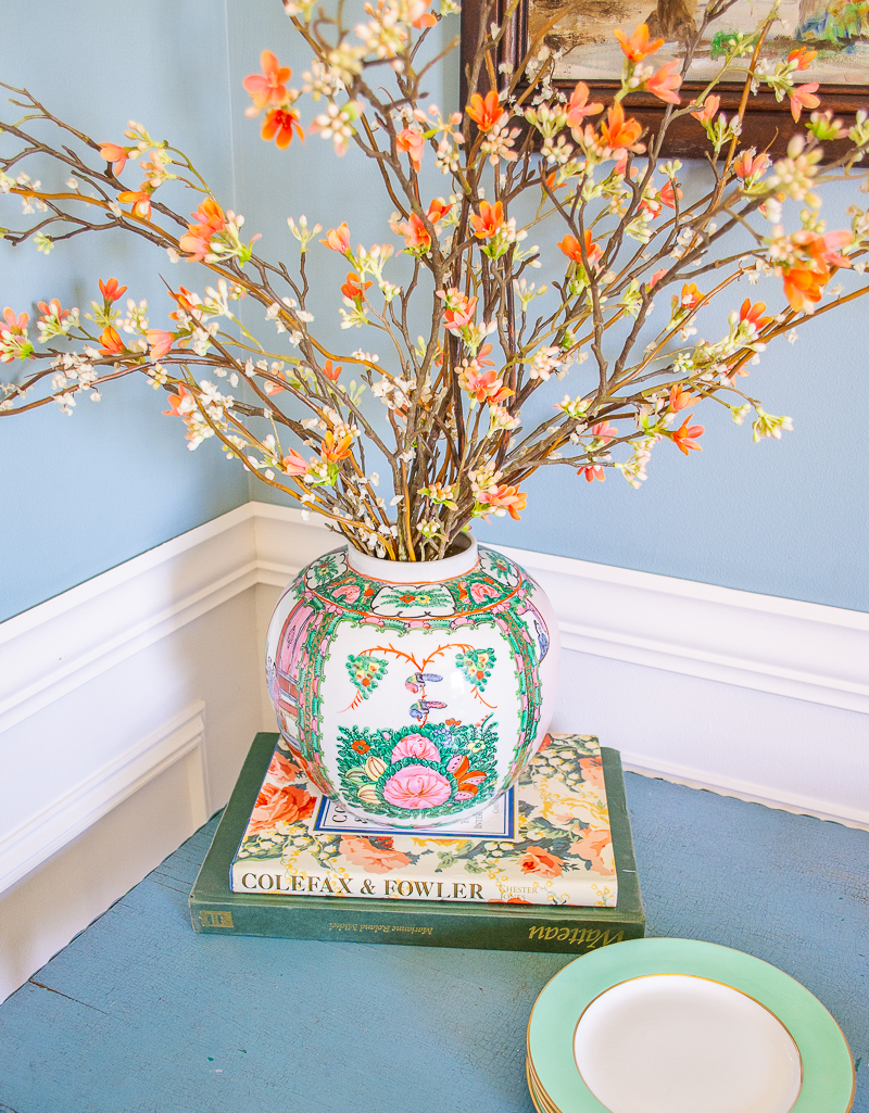 Vintage Rose Medallion ginger jar as vase for floral display is one of the ways to decorate with Rose Medallion