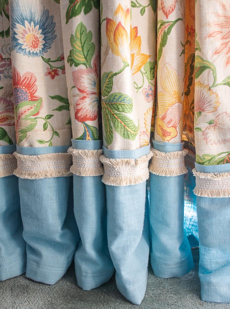 Bottom half of floral curtains made with Raymond Waites Mikka fabric