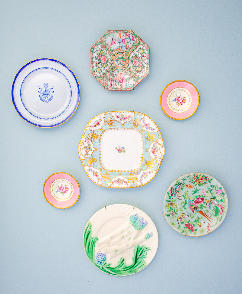 Antique plate wall with Rose Medallion plate, Spode, Majolica, and Famille Rose celadon