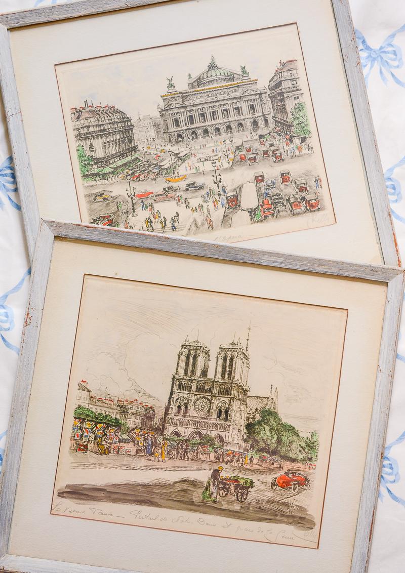 Andor Dobai Szekely Paris street scene etchings