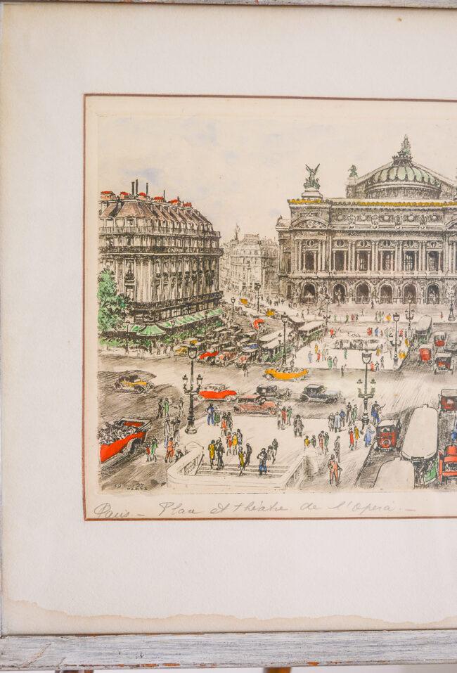 Andor Dobai Szekely Paris street scene etchings Place et theatre de l'opera