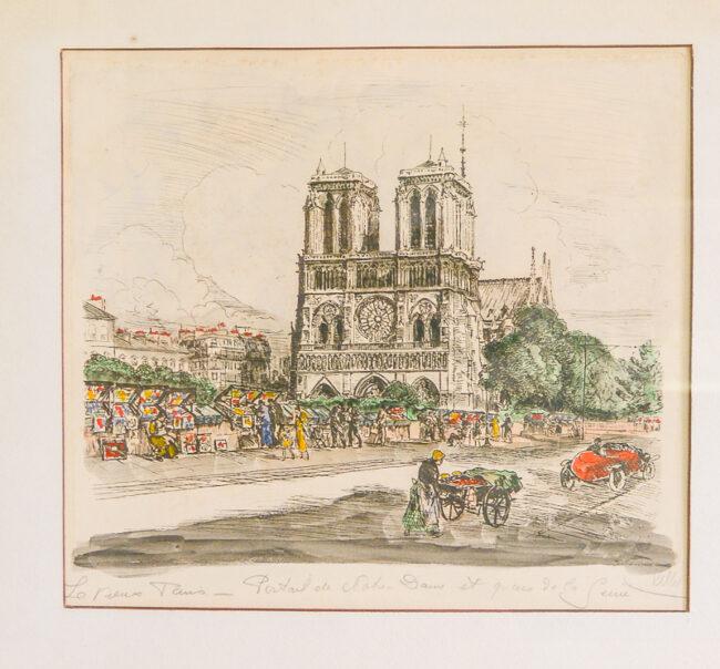 Andor Dobai Szekely Paris street scene etchings Notre Dame