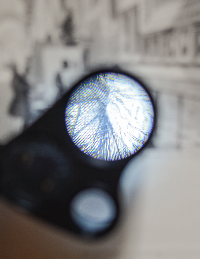 The magnified view from a loupe