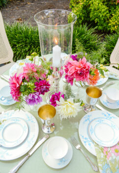Silverplate and glass candle hurricane with dahlias for summer table centerpiece