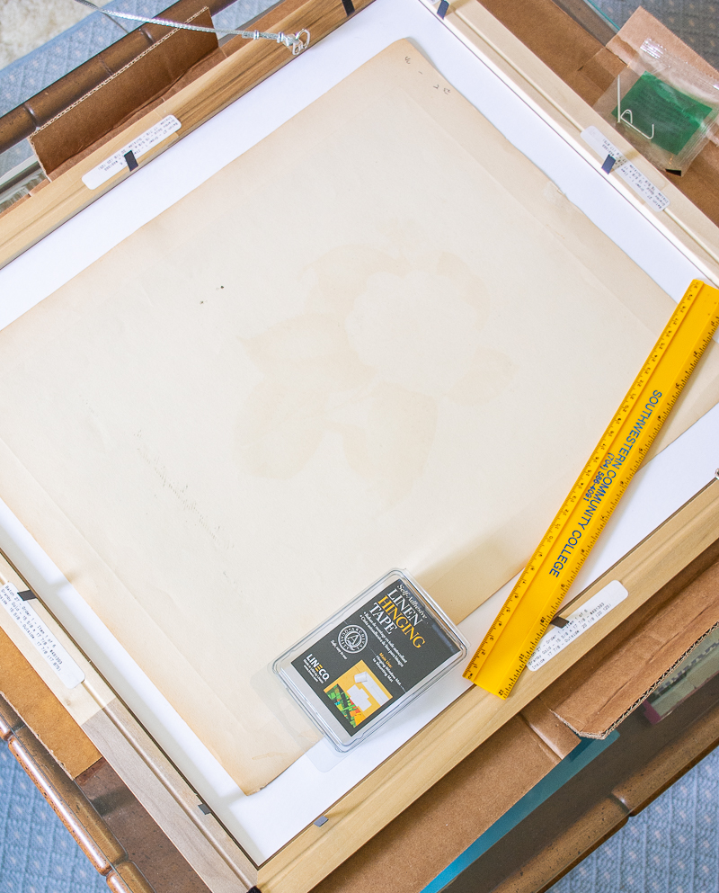 Gather materials for matting and framing print and work on clean flat surface
