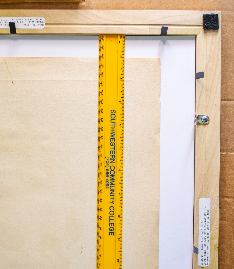 Measure to align print within mat opening