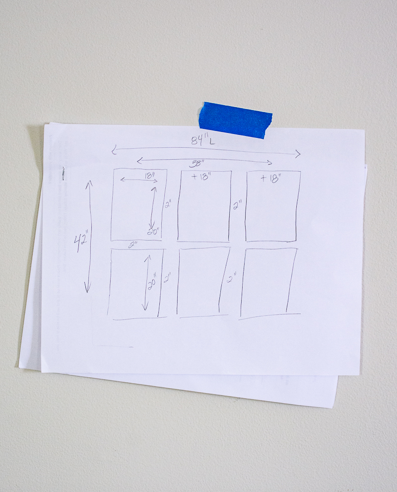 Layout sketch for grid gallery wall