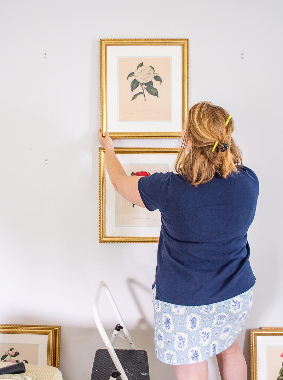 Katherine hangs top botanical print in gallery wall