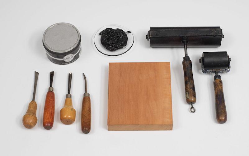 Tools used to make a woodcut print