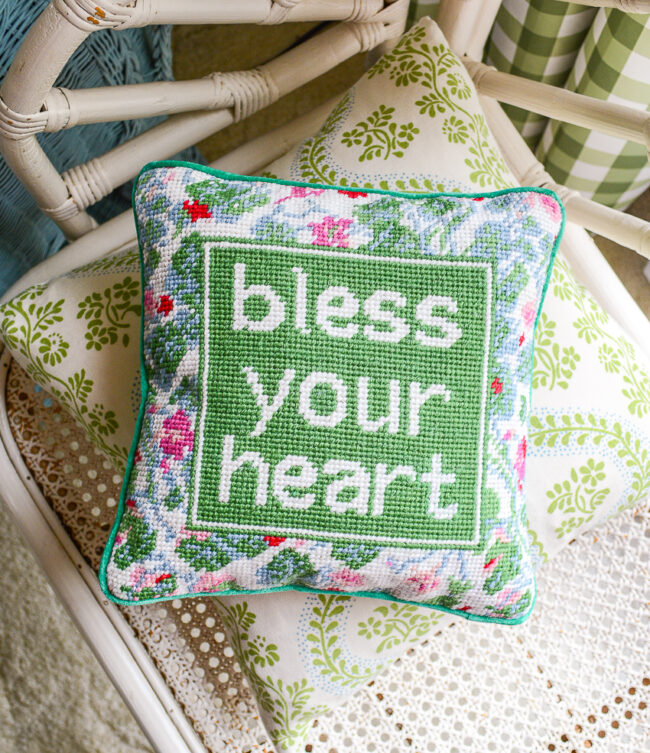 Bless your heart needlepoint pillow in green and pink
