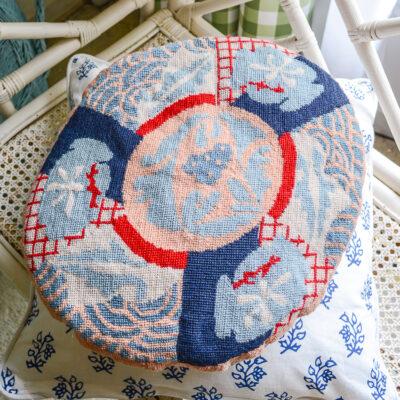 Imari style needlepoint pillow