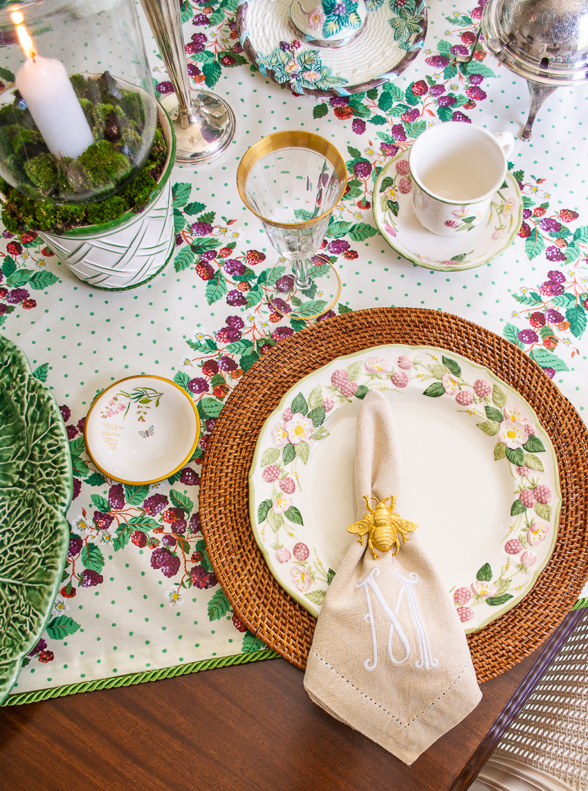 in the blackberry patch an end of summer table with Metlox pottery, Corinne Samios Barnstable chintz, antique silver, and crystal goblets