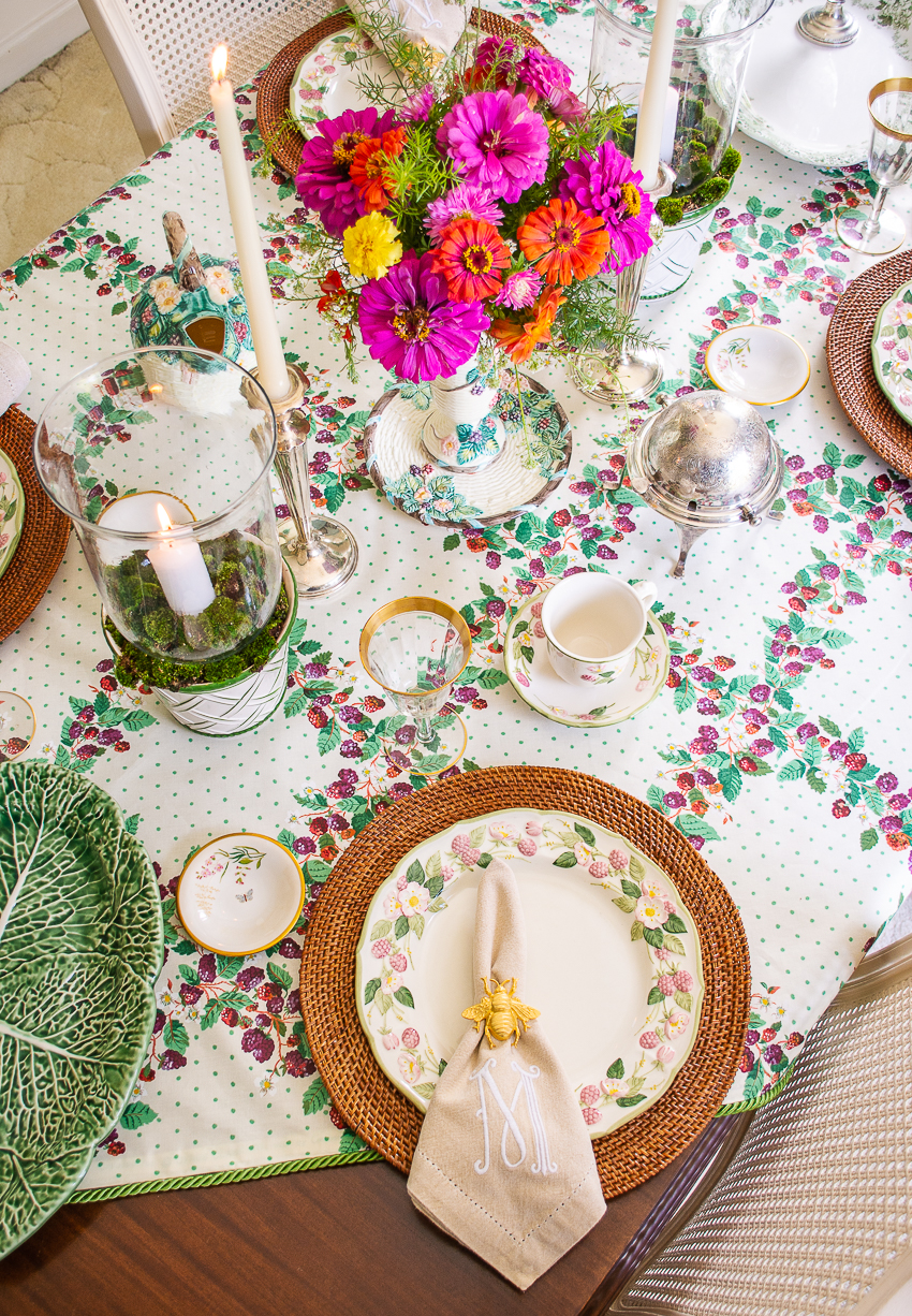 end of summer table with blackberry inspired tableware