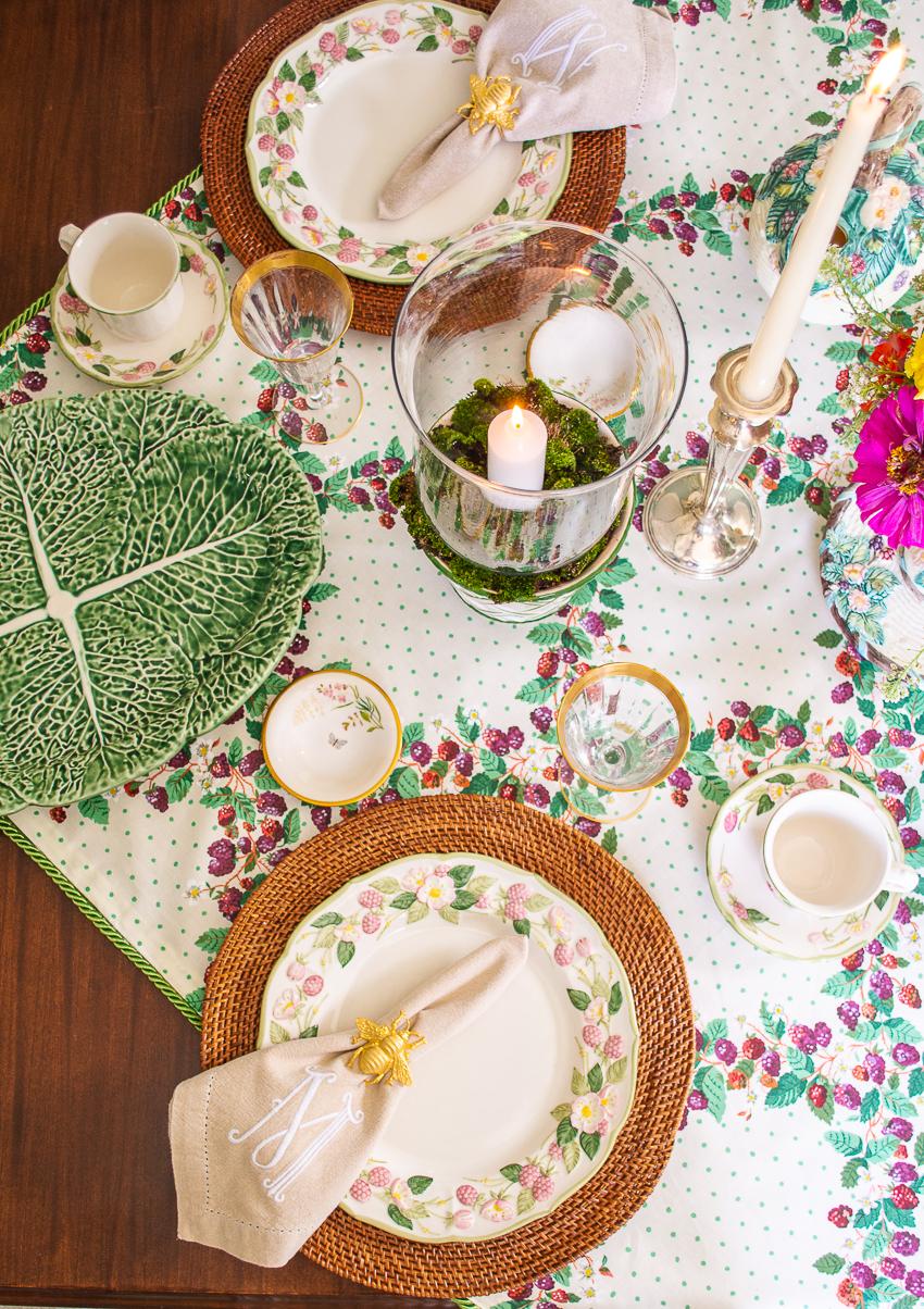 top view of summer table inspired by elegant blackberries