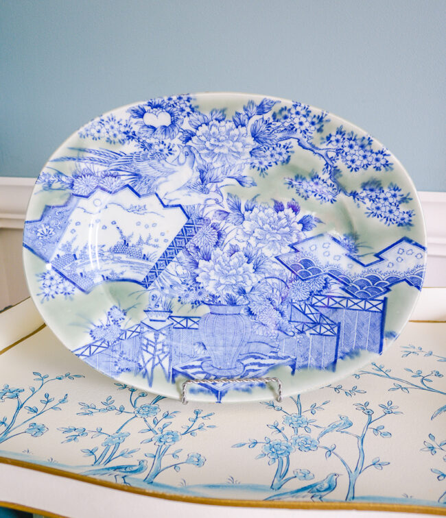 Asian celadon and blue platter with birds