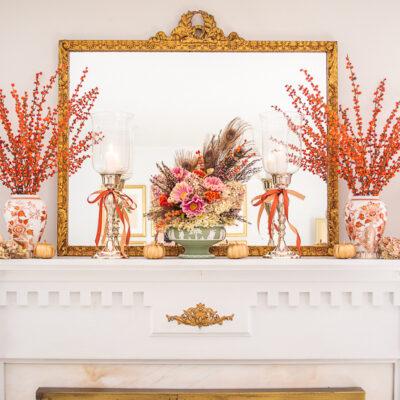 Pair of Andrea by Sadek vases in orange florals