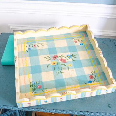 Jane Keltner blue gingham tray with florals