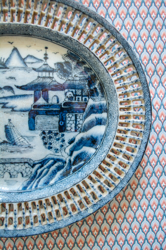 Blue Canton style reticulated edge platter