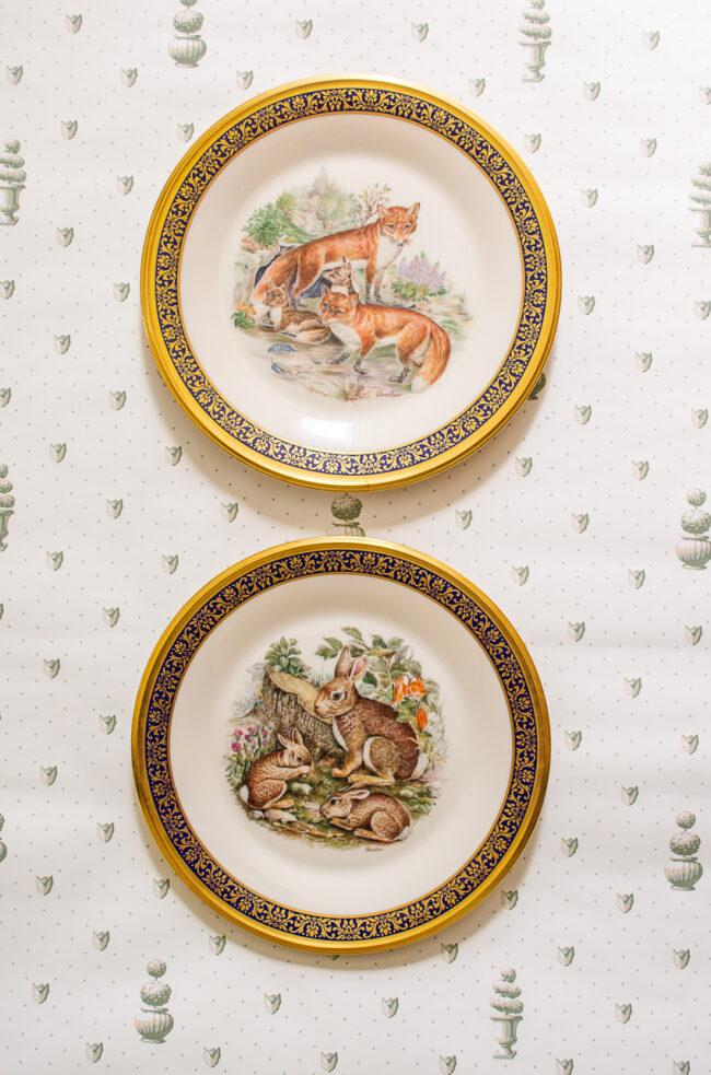 Pair of fox and rabbit Boehm Lenox plates