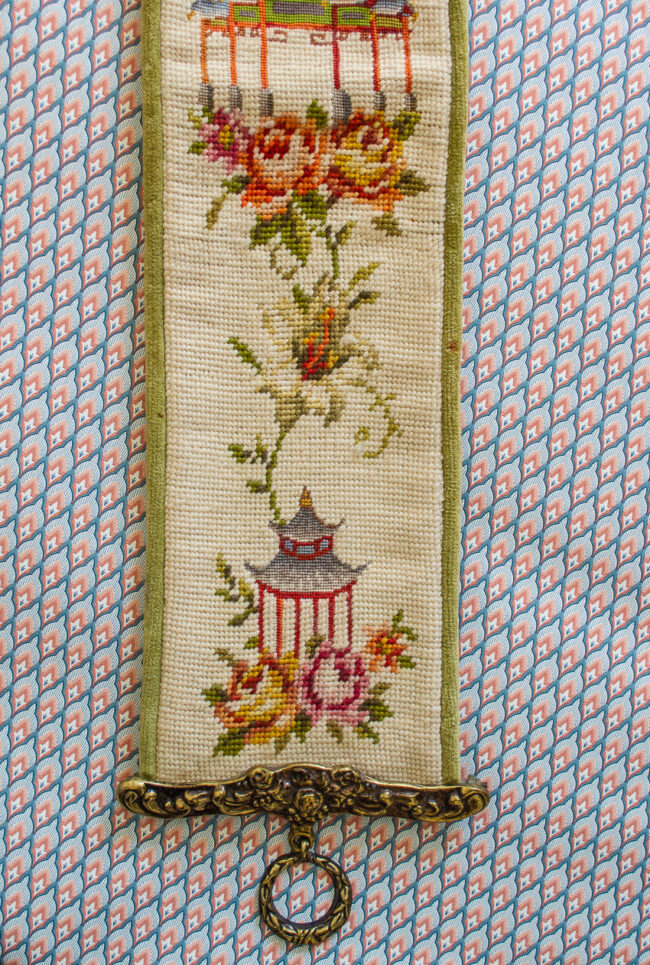 Chinoiserie needlepoint bell pull with pagodas