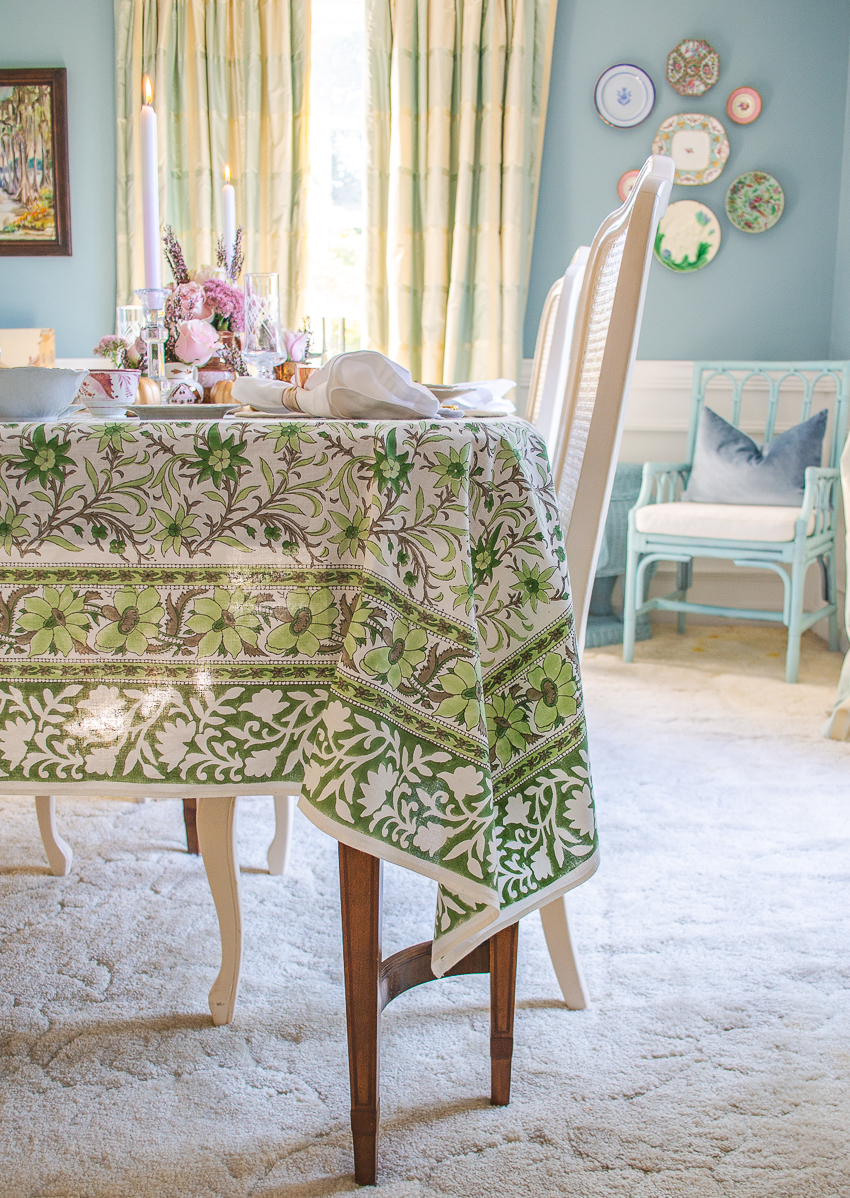 Katherine Young Home flowering vine green and white Indian block print tablecloth