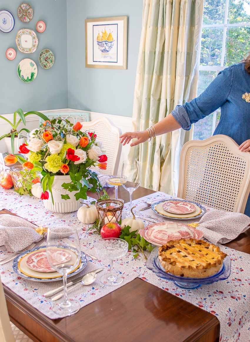 Fall tablescape in red, white, and blue with Sarah Flint linens