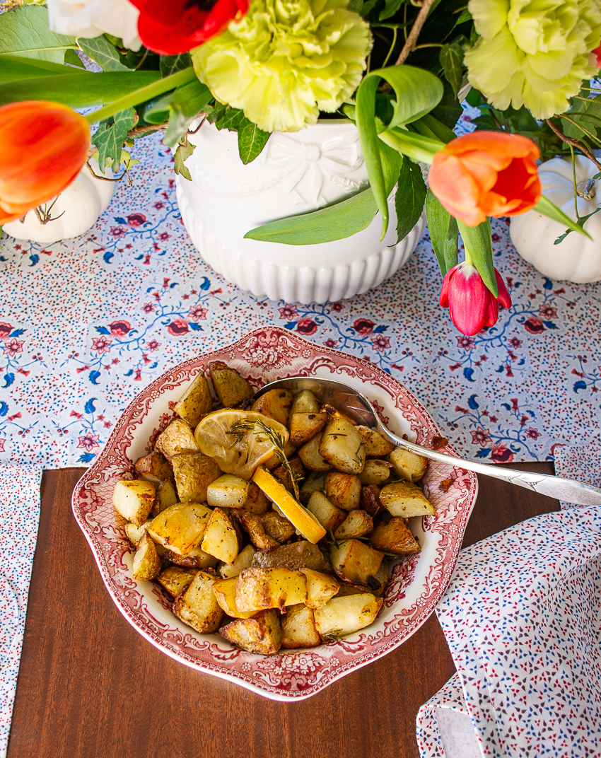 Roasted rosemary lemon potatoes for a side dish in this fall dinner party menu