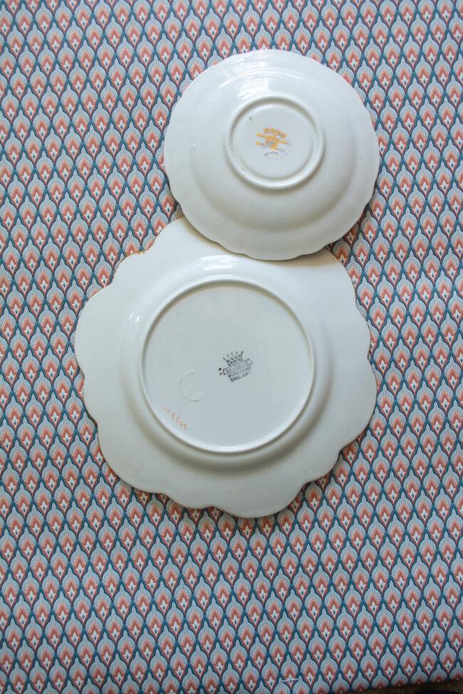 Salisbury Bone China plates with florals and plaid ribbon